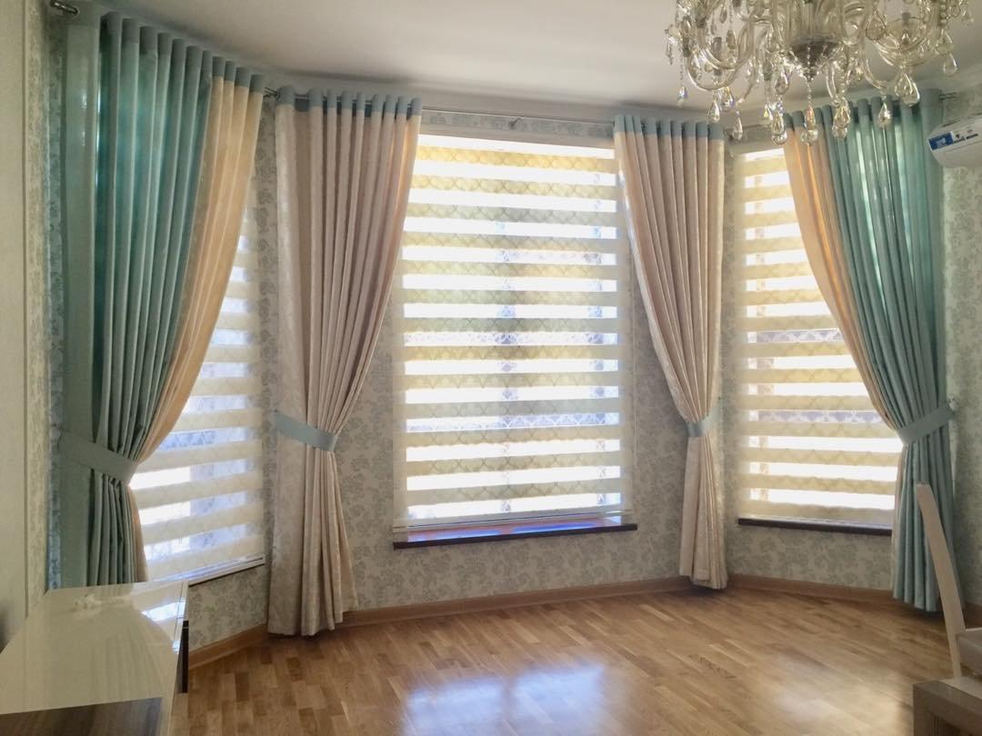 Дизайн и пошив штор на эркерные окна
