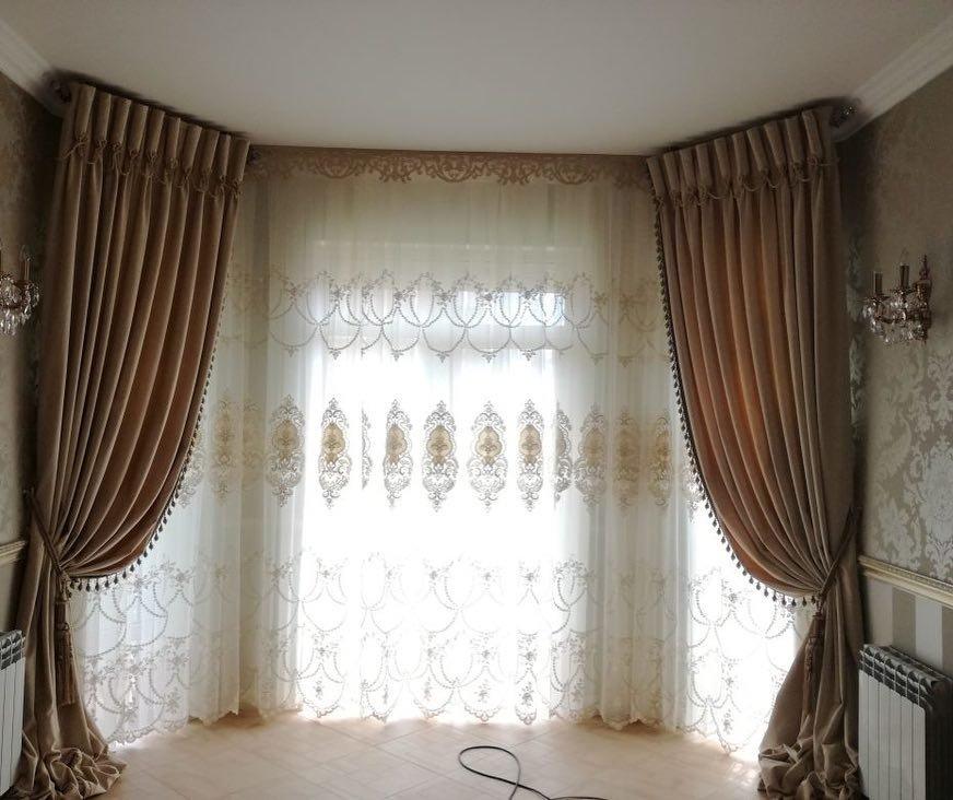 Пошив штор для эркерных окон